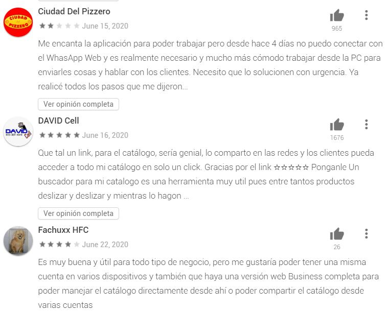 Opiniones de WhatsApp Business 03