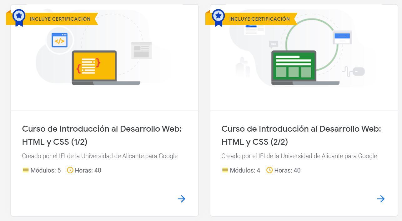 Cursos online gratuitos de Desarrollo Web