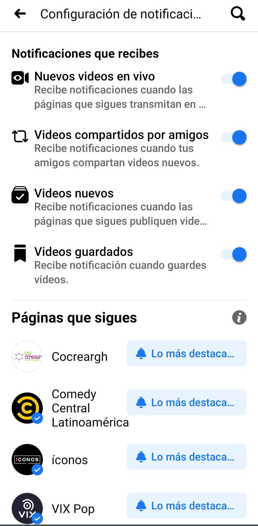 Configuración notificaciones Facebook TV
